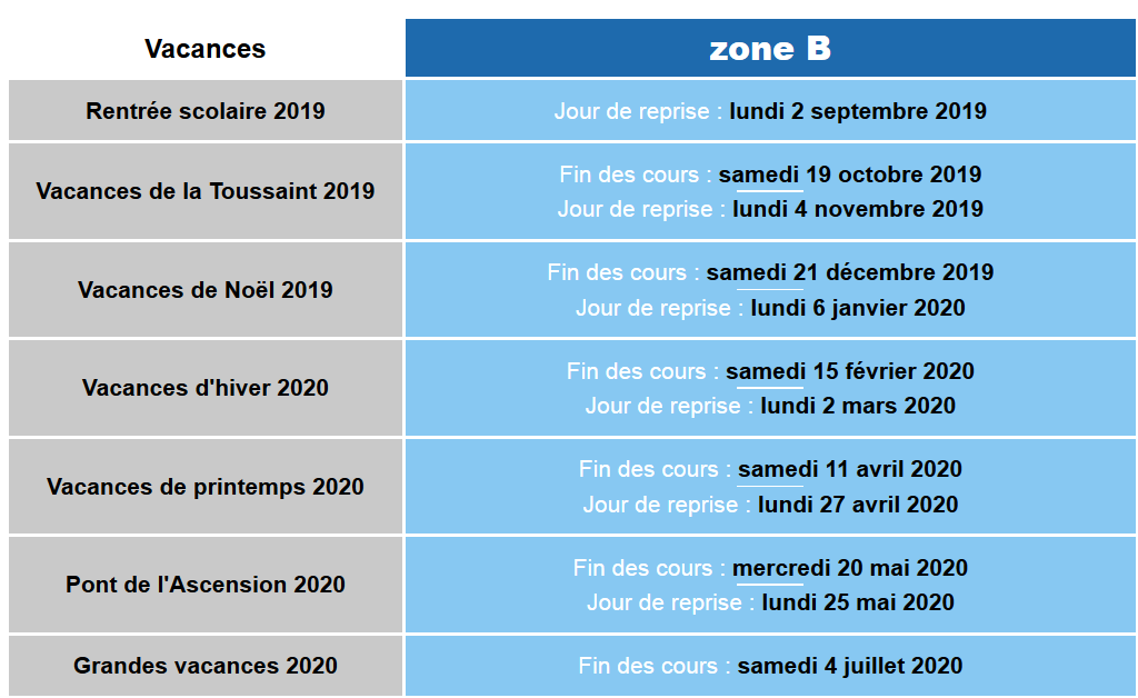 Calendrier Scolaire 20202019 A Imprimer.Date Vacances Scolaires 2019 Dates De La Rentree 2019 Et